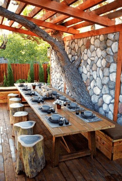 Pergola pro večeře s hosty