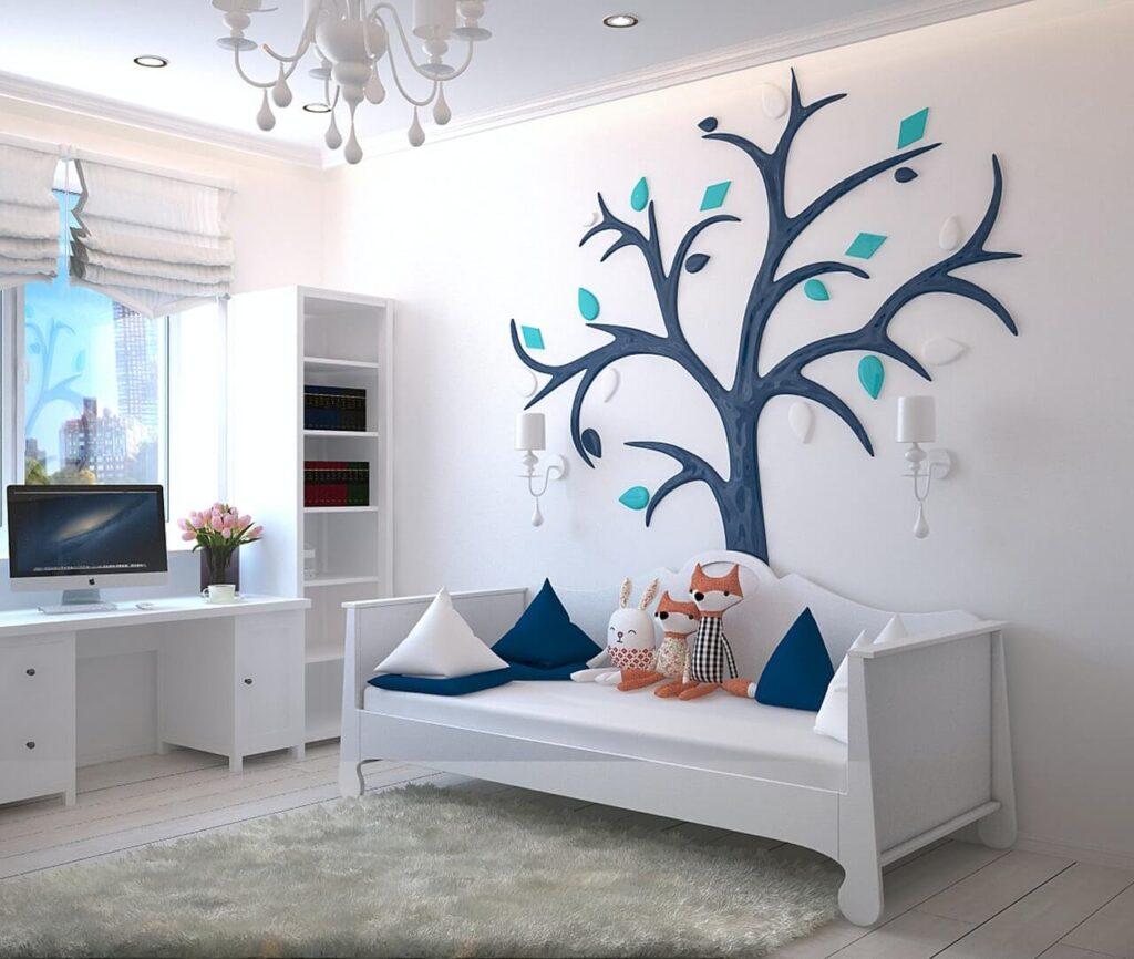 Dětský pokoj v bílé a modré barvě